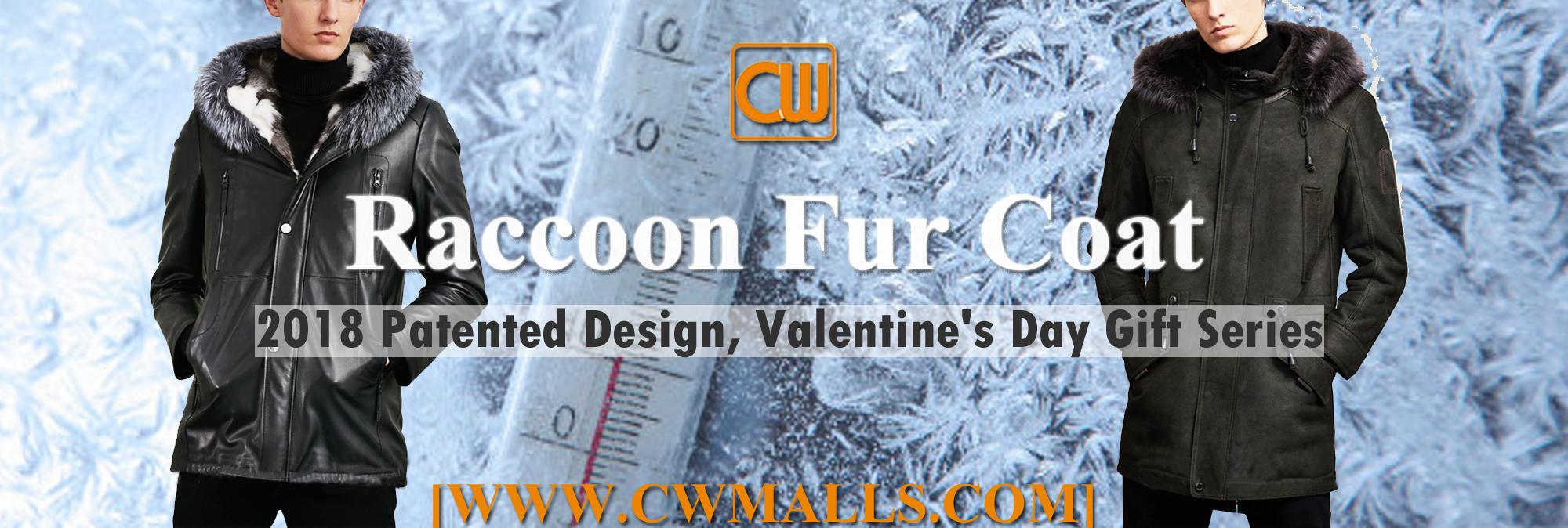 CWMALLS Raccoon Fur Coat